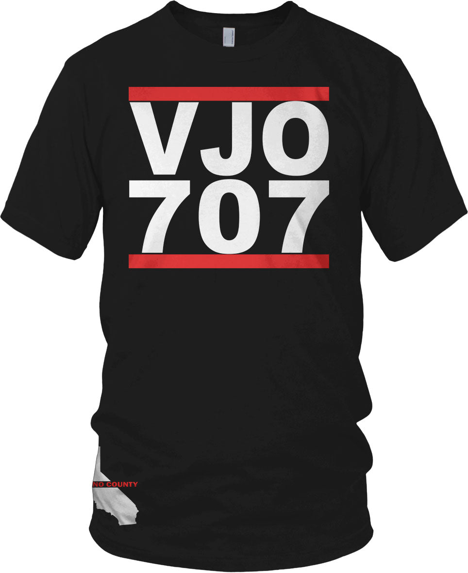 VALLEJO VJO 707 BAY AREA CALIFORNIA BLACK, RED & WHITE T-SHIRT (LIMITED EDITION)