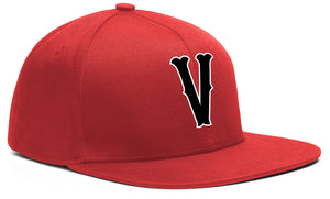 V SNAP BACK RED, BLACK & WHITE BASEBALL HAT