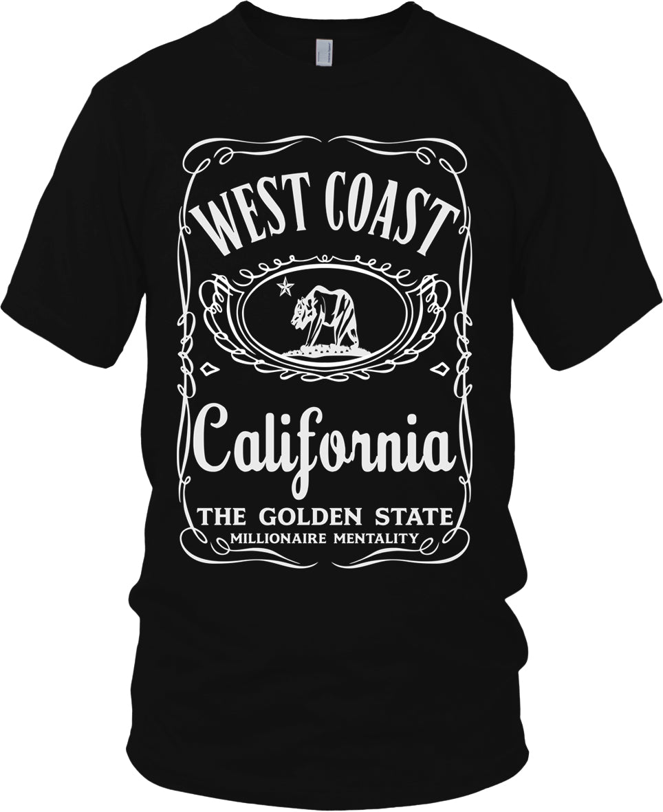 WEST COAST CALIFORNIA THE GOLDEN STATE BLACK & WHITE T-SHIRT (LIMITED EDITION)