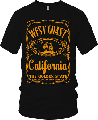 WEST COAST CALIFORNIA THE GOLDEN STATE BLACK T-SHIRT (LIMITED EDITION)