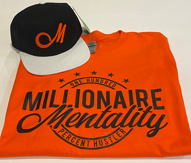 MILLIONAIRE MENTALITY ORANGE T-SHIRT & HAT PLAYER PACK
