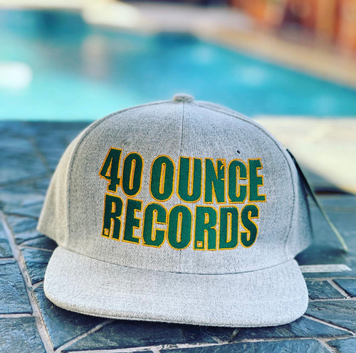 40 OUNCE RECORDS GREY, GREEN & GOLD SNAP BACK BASEBALL HAT