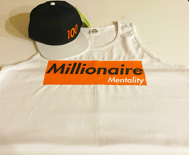 MILLIONAIRE MENTALITY CLOTHING CO. TANK TOP & SNAPBACK PLAYER PACK (LIMITED EDITION) WHITE, ORANGE & BLACK