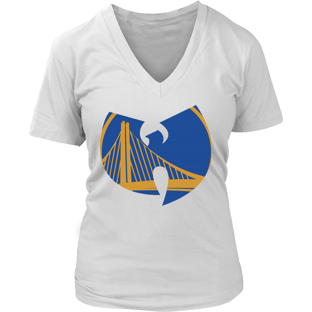 DUB NATION WARRIORS WU TANG WOMENS V-NECK TSHIRT (LIMITED EDITION) GOLDEN STATE EDITION