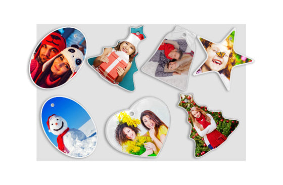 10 Photo Ornaments|5 Shapes: Bell, Heart, Oval, Star and Tree|51|cm-18