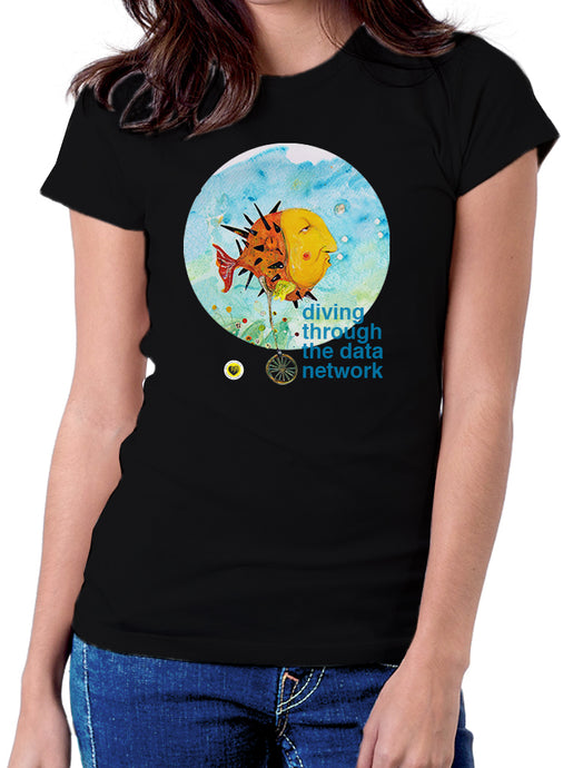 Moda Geek - Camisetas Originales Data Science - Diving Fish Negra - pasionteki.com