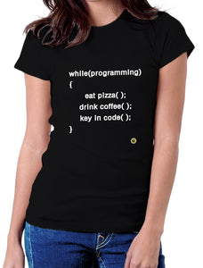 Moda Geek - Camisetas Originales Programador - Html - pizza and coffee Code - pasionteki.com