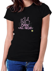 Moda Geek - Camisetas Originales Programador - Open All Night - pasionteki.com