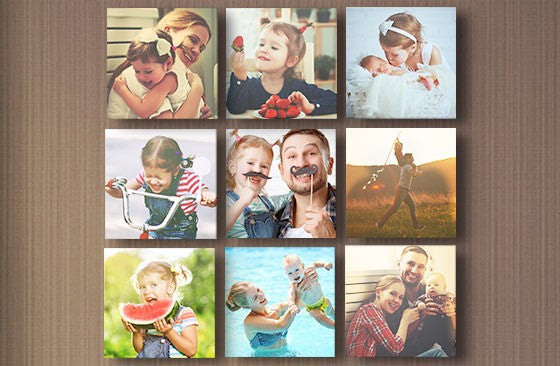 "8"" x 8"" Multi Photo Canvas x 9
