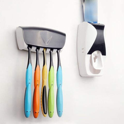 Automatic Toothpaste Dispenser and 5pcs Toothbrush Holder Set