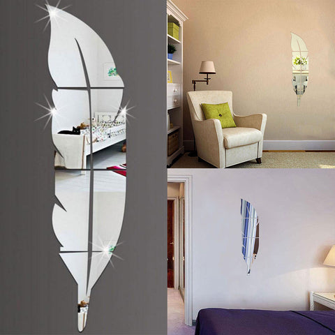 Feather Style Acrylic Mirror Sticker