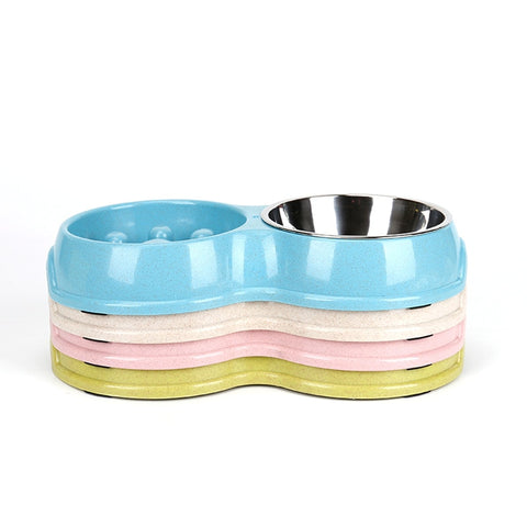 Dog Pet Double Bowls