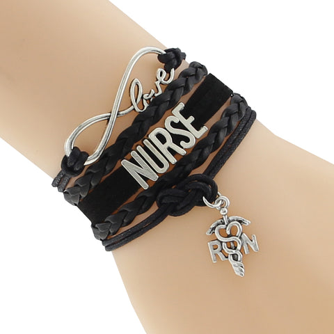 """Nurse"" Leather Wrist Bracelet"