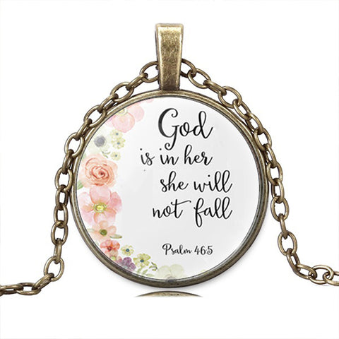 """God Is With Her"" Inspirational Necklace"