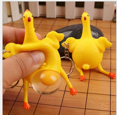 Rubber Chicken Squeeze Toy Keychain