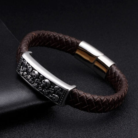Leather Vintage Braided Charm Cuff
