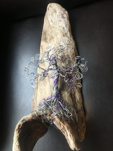 Purple wire wrapped Bonsai on Driftwood