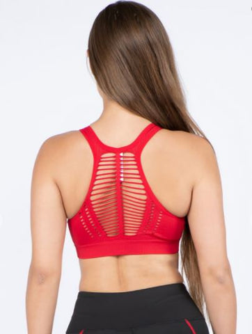 Macrame Detail Sports Bra- Red