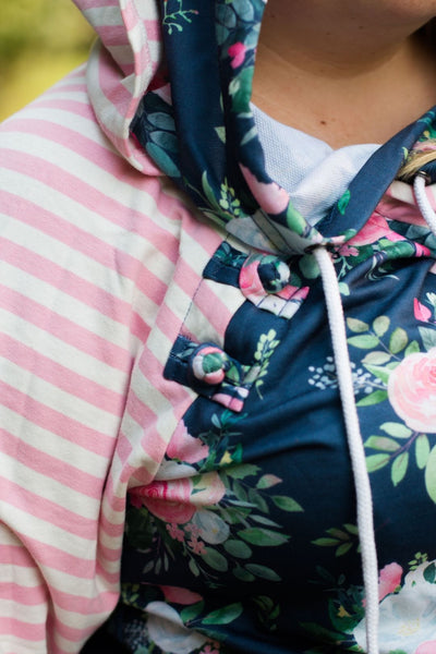 Floral and Stripes Hoodie