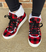 Load image into Gallery viewer, Snuggly Fur Sneaker- Buffalo Plaid FINAL SALE