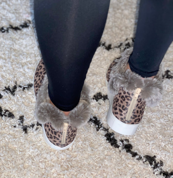 Plush Booties- Leopard