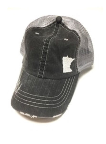 Gray Mesh Minnesota Trucker Hat