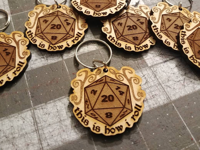 D20 Engraved Keychain