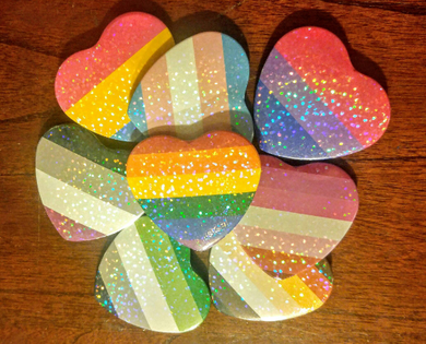 Pride Flag Shimmer Heart Button