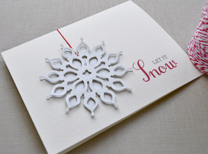 Holiday snowflake card. Christmas snowflake card. Glitter snowflake, 3D, Let It Snow, red paper string, red envelope