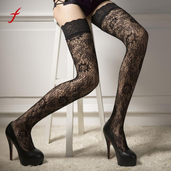 Women Sexy Fishnet Stockings Sheer Lace Tops Thigh High Stockings Hosiery Nets For Women Female Mesh Stockings Black Temptation