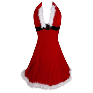 Women Sexy Christmas Festival Cosplay Costumes Red Corduroy Corset Dress Uniform Role Playing for Adult Santa Dresses Plus Size