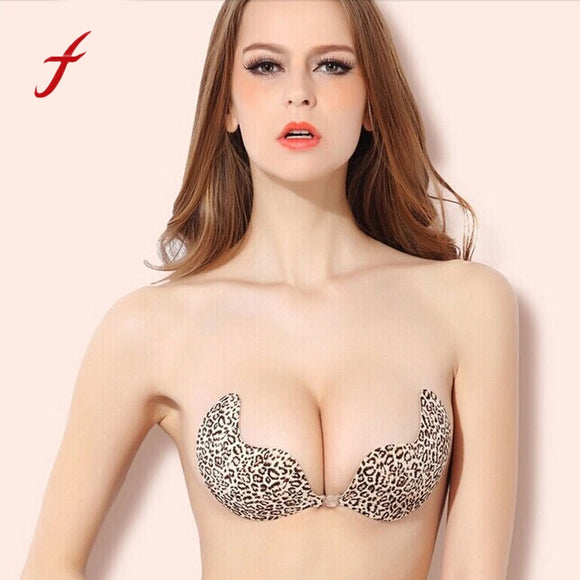 Women Push Up Bra Silicone Self-adhesive Sexy Backless Leopard Invisible Bra Hot Womens Front Closure Bras