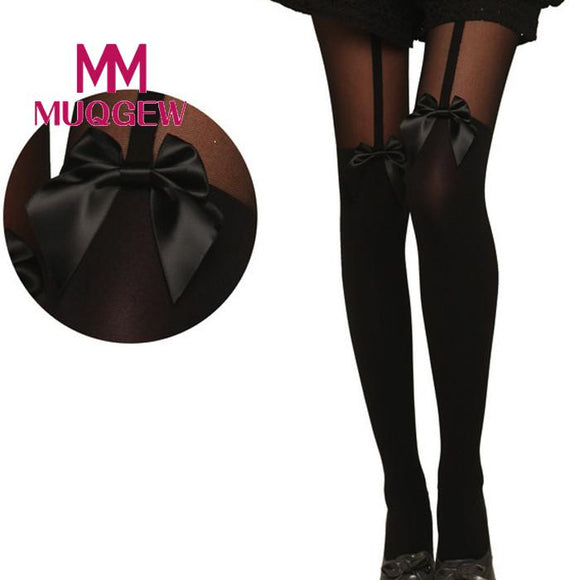 MUQGEW 2017 New Design Vintage Bow Pantyhose Tattoo Mock Bow Suspender Sheer sexy thigh high socks chaussette femme