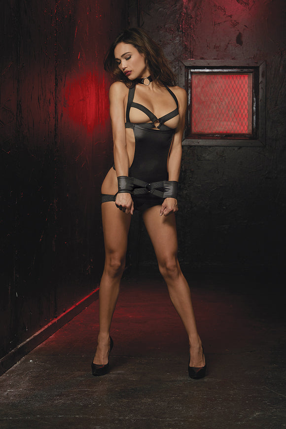 CHEMISE SET W/ RESTRAINTS BLACK (RED DIAMOND)