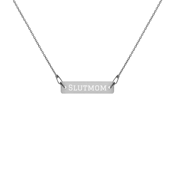 Slutmom Engraved Silver Bar Necklace