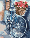 Blue Bicycle  With Flowers - Paint By Numbers Kit