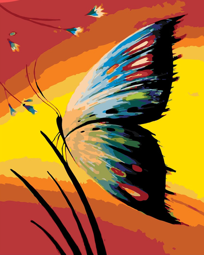 Butterfly on Grass - Paint By Numbers Kit