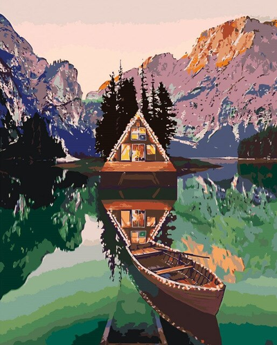 Canoe on Lake - Paint By Numbers Kit