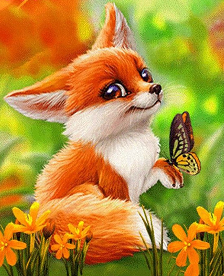 Cartoon Fox and Butterfly - Diamond Painting Kit