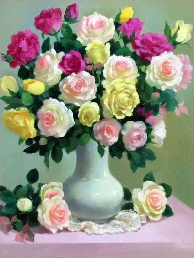 Flowers in Vase - Diamond Painting Kit