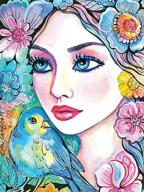 Bright Girl with Blue Bird - Paint By Numbers Kit