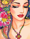 Girl With Fuschia Flower - Paint By Numbers Kit