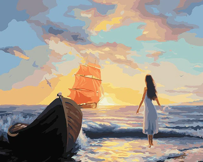 Girl Waiting At Sea - Paint By Numbers Kit