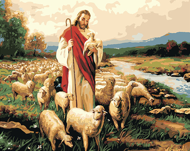Jesus With Sheep - Paint By Numbers Kit