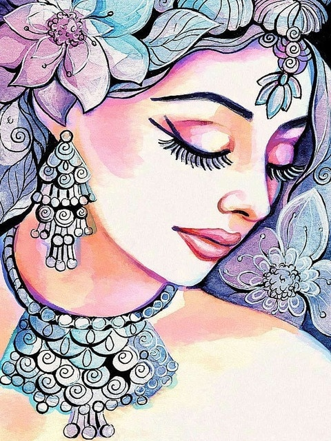 Girl With Jewels - Paint By Numbers Kit