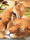 Lion Mommy Love - Diamond Painting Kit
