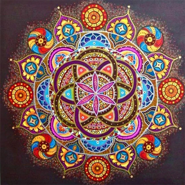 Mandala Purple Red Blue Yellow - Diamond Painting Kit