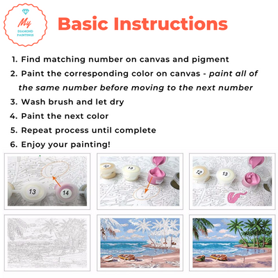 Flowers on a Tranquil Shore - Paint By Numbers Kit