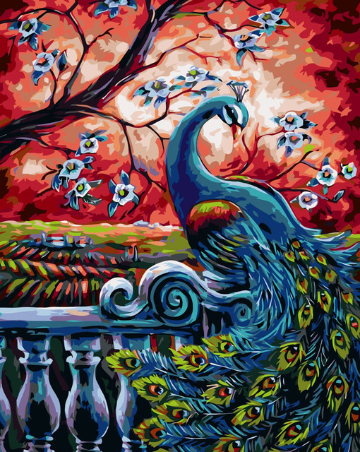 Peacock Under Red Sky - Paint By Numbers Kit