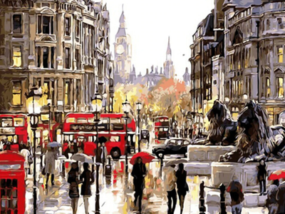 Red London Street - Paint By Numbers Kit